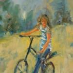 Adolescente dans un parc à qui j'ai demandé de s'arrêter pour la peindre