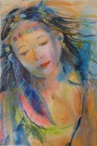 Hirondelle, aquarelle et pastel