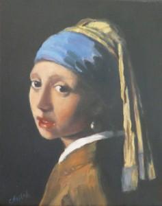 Copie de La jeune fille à la perle, huile, Cécile Beaulieu