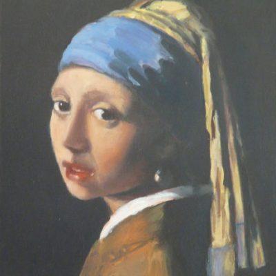 D'après Vermeer, copie partielle de La jeune fille à la perle, huile, Cécile Beaulieu
