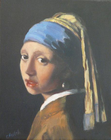La jeune fille au turban bleu peinte par Vermeer probablement dans son atelier. Arrêt dans le temps. Universel, ce regard