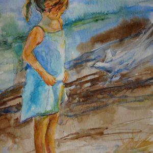 L'oiseau bleu, aquarelle et pastel,©