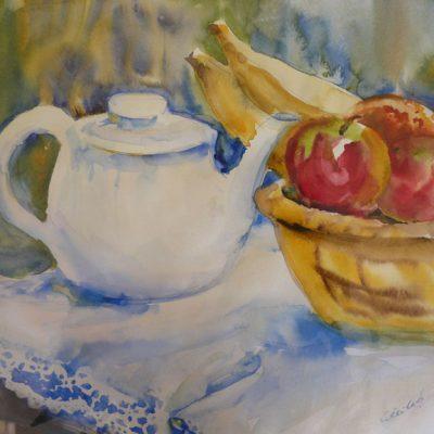 L'heure du thé, aquarelle sur papier, ©