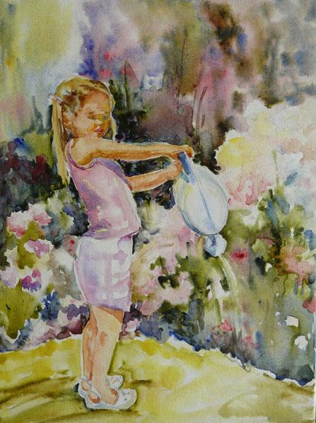 aquarelle sur toile , fillette dans un jardin