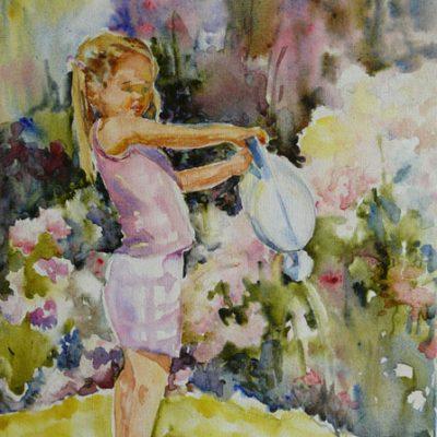 Emmanuelle, aquarelle sur toile, ©