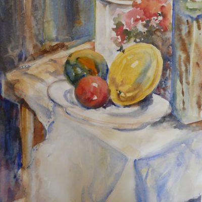 Table d'été, aquarelle sur papier, ©