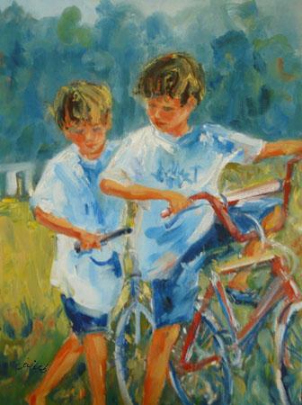 Deux garçons à bicyclette