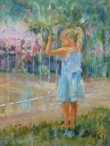 Acrylique sur panneau d'une fillette à la porte de son jardin