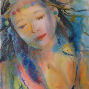 Hirondelle, aquarelle et pastel, ©