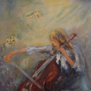 Le violoncelle, acrylique, collage...