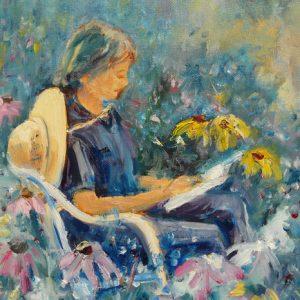Marie Line au jardin, huile, ©