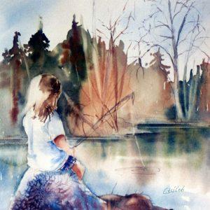 Pêche sur le lac derrière la maison, ©
