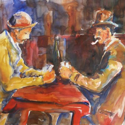 D'après Cézanne, copie de Les joueurs de cartes, aquarelle, Cécile Beaulieu