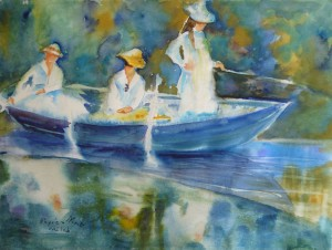 Trois jeunes filles dans une barque. Tableau de Monet, copie à l'aquarelle.