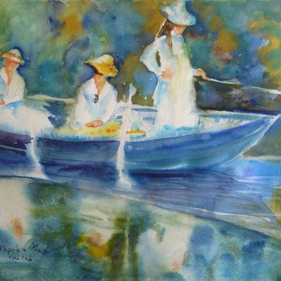 D'après Monet, copie de La barque à Giverny, aquarelle, Cécile Beaulieu