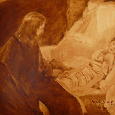 D'après Gabriel Max, copie brouillon de La fille de Jaïre, huile, Cécile Beaulieu