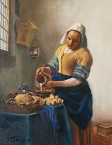 copie d'un tableau de Vermeer. Jeune fille dans son travail quotidien
