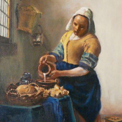 D'après Vermeer,copie de La laitière, huile, Cécile Beaulieu